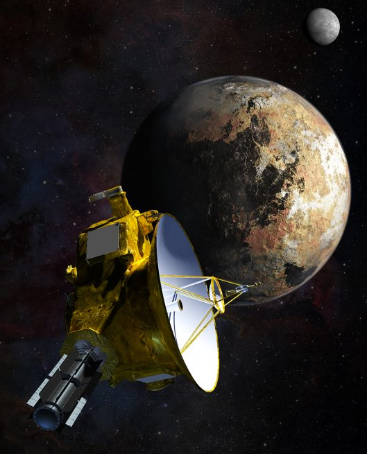 New Horizons spacecraft flies by the dwarf planet Pluto on its way into the Kuiper Belt. Image Credit: NASA
