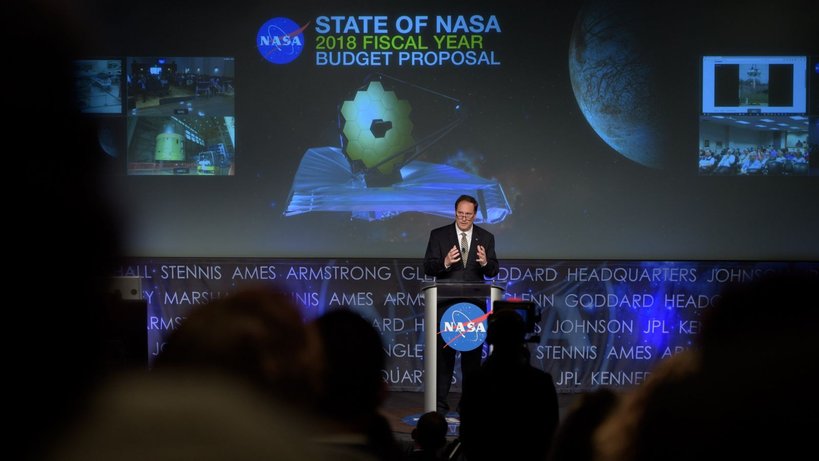 Acting NASA Administrator Robert Lightfoot discusses the FY 2018 budget during a State of NASA address. Photo Credit: Bill Ingalls / NASA