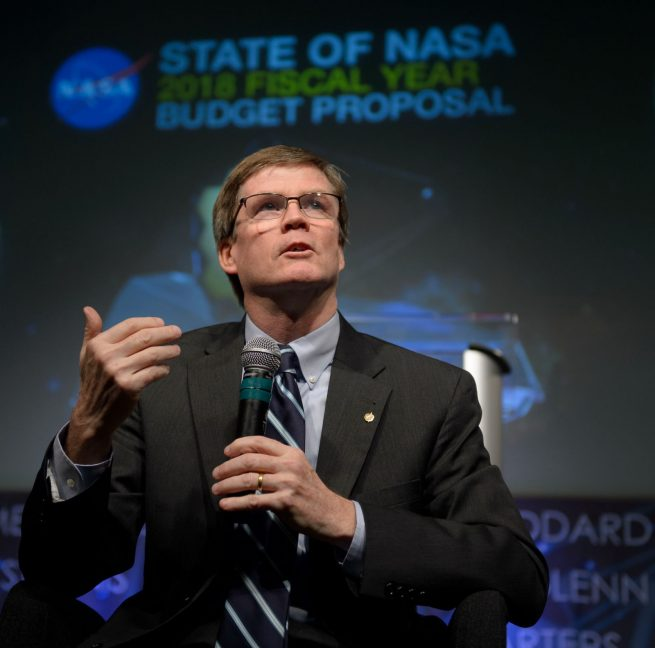 Acting NASA Chief Financial Officer Andrew Hunter explains budget details during a State of NASA briefing. Photo Credit: Bill Ingalls / NASA
