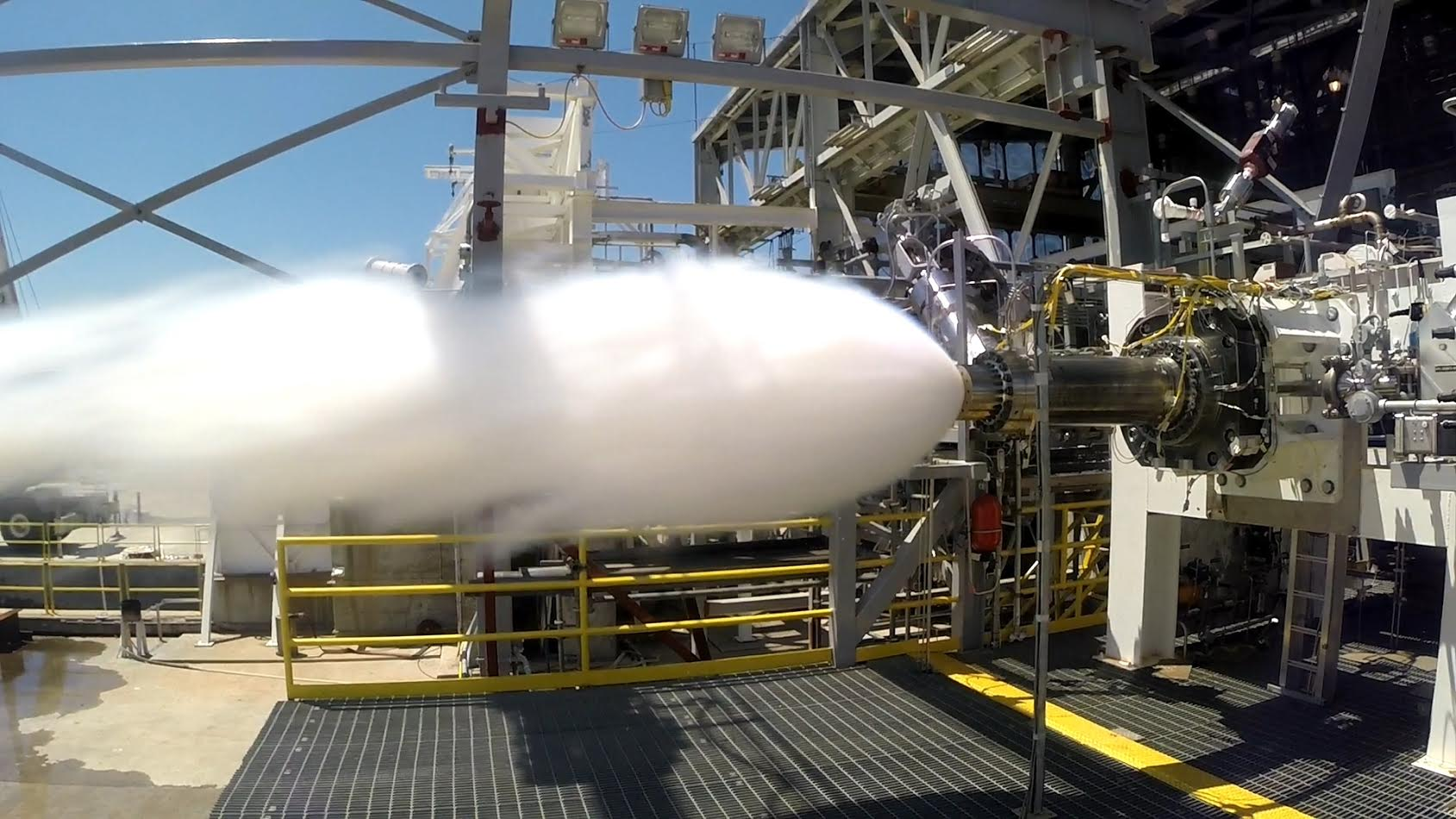 Aerojet Rocketdyne tests a full-scale preburner for the AR1 engine. Photo Credit: Aerojet Rocketdyne