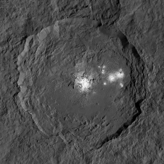 Occator Crater imaged by Dawn from LAMO