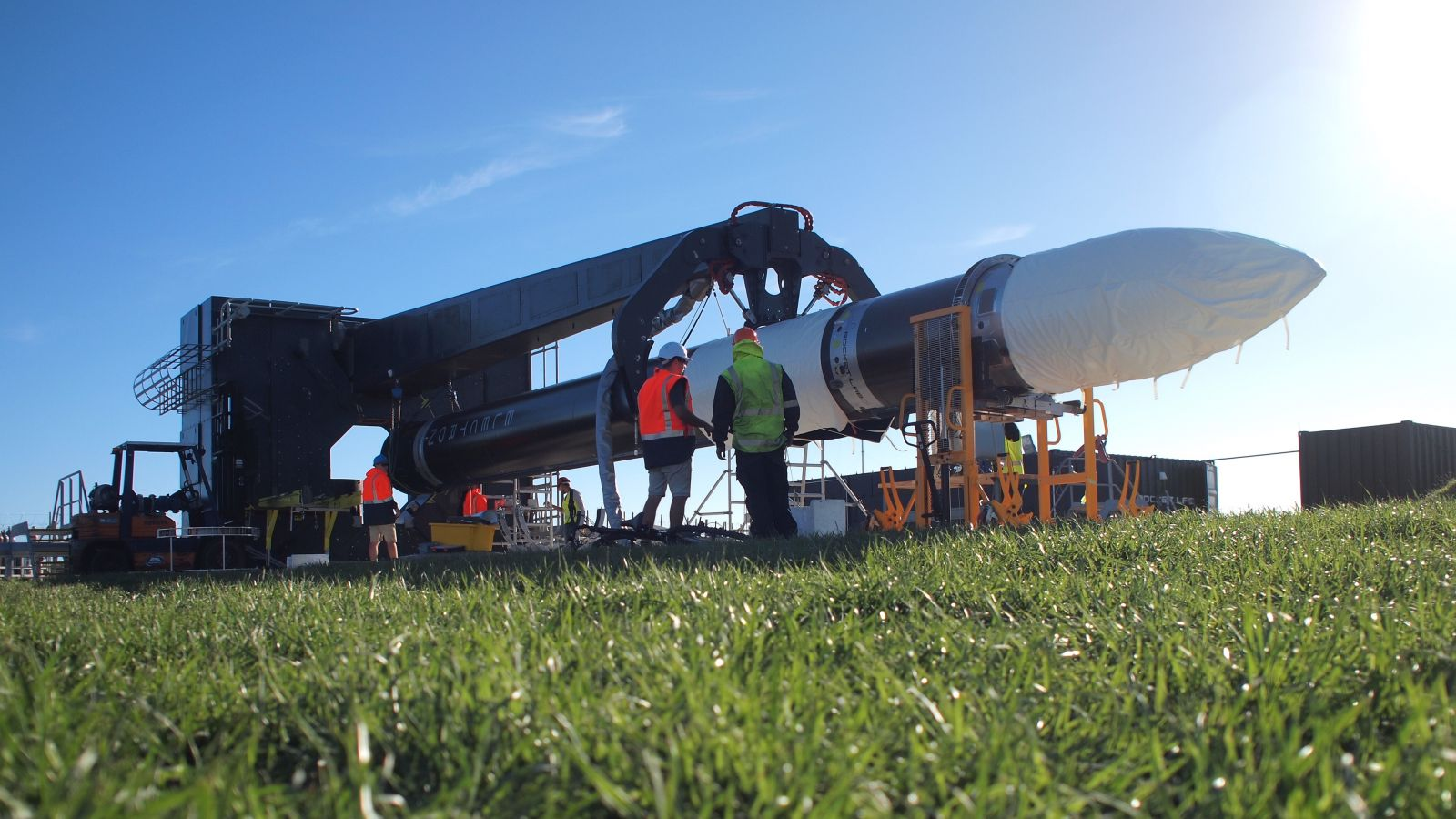 Rocket Lab's Electron rocket as seen before being raised to vertical. The vehicle's maiden flight will occur sometime in late-May 2017 from New Zealand. Spaceflight Industries has purchased a dedicated rocket for its rideshare program. Photo Credit: Rocket Lab