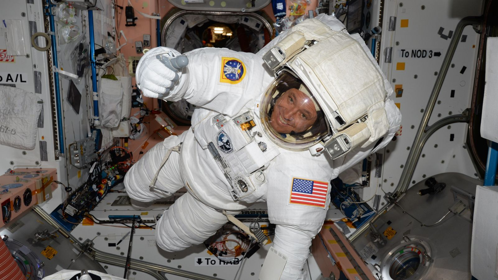 ISS spacewalk: Fischer spacesuit test May 11