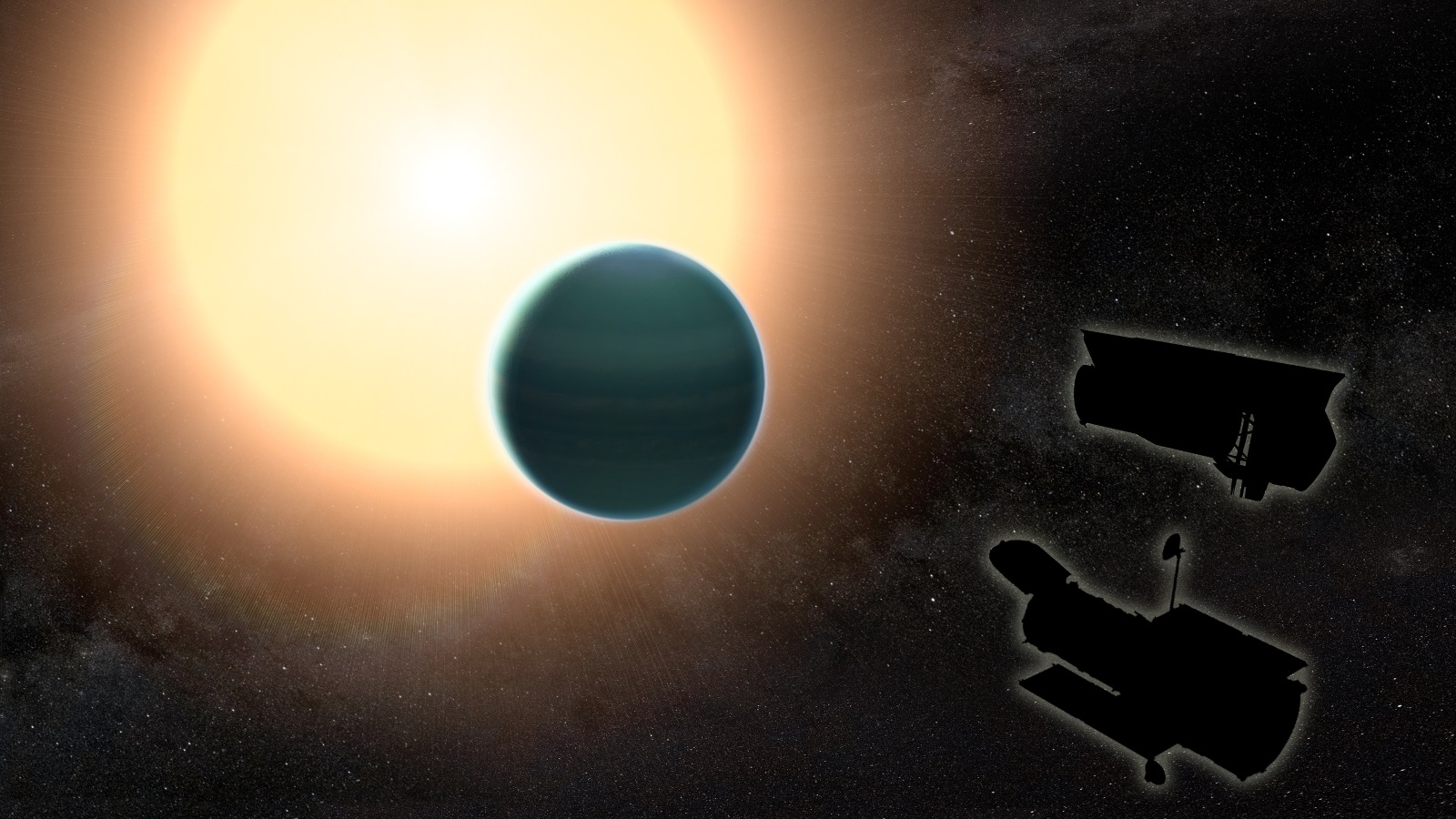 "The atmosphere of the distant ""warm Neptune"" HAT-P-26b, illustrated here, is unexpectedly primitive, composed primarily of hydrogen and helium. By combining observations from NASA's Hubble and Spitzer space telescopes, researchers determined that, unlike Neptune and Uranus, the exoplanet has relatively low metallicity, an indication of the how rich the planet is in all elements heavier than hydrogen and helium. Image & Caption Credit: NASA/GSFC"
