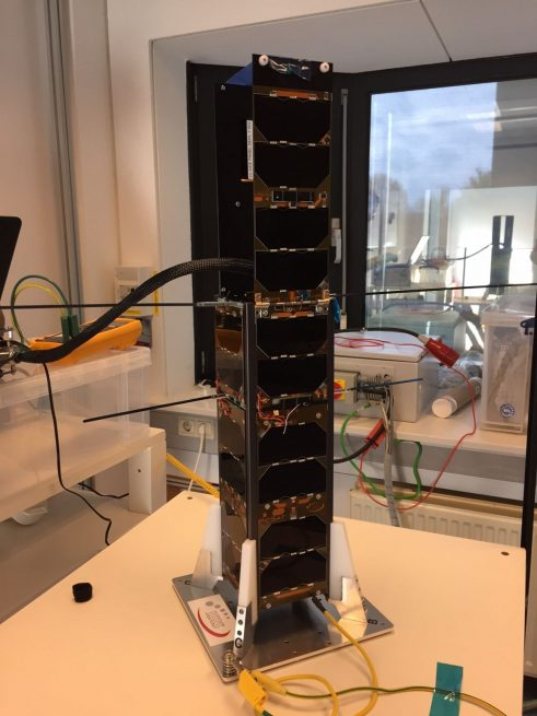 PicSat nanosatellite with its solar panels deployed.