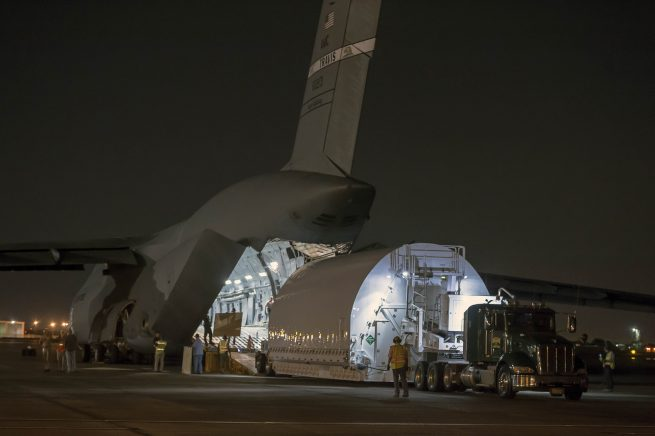 The James Webb Space Telescope arrives at Ellington Field, in Houston, Texas.