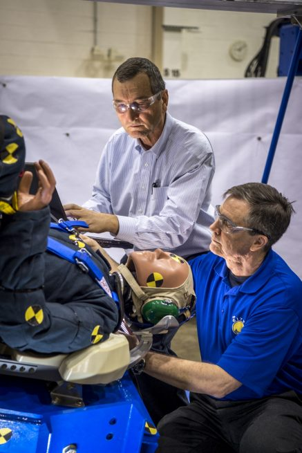 Engineers working with Boeing's CST-100 Starliner test the spacecraft's seat design in Mesa, Arizona.