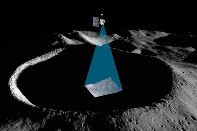 A rendering of the Lunar Reconnaissance Orbiter over Shackleton Crater on the Moon. Image Credit: NASA