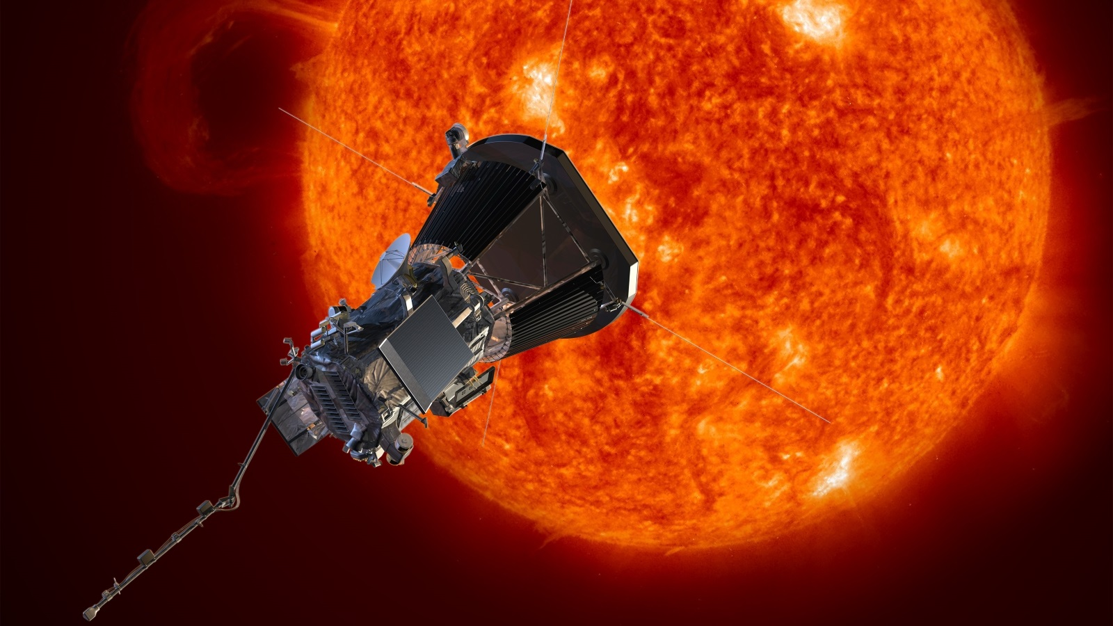 An artist's concept of Parker Solar Probe approaching the Sun. Photo Credit: Johns Hopkins University Applied Physics Laboratory