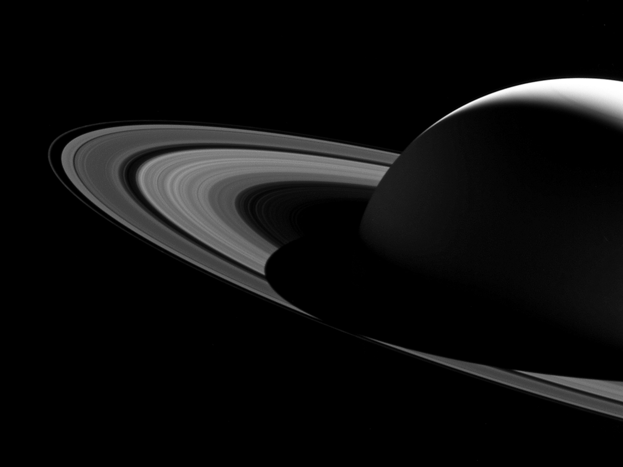 Saturn's shadow barely bisected rings