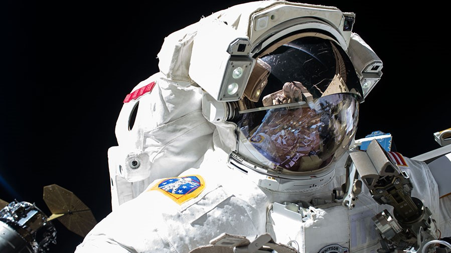 Peggy Whitson during EVA-42, which took place May 12, 2017. Photo Credit: NASA