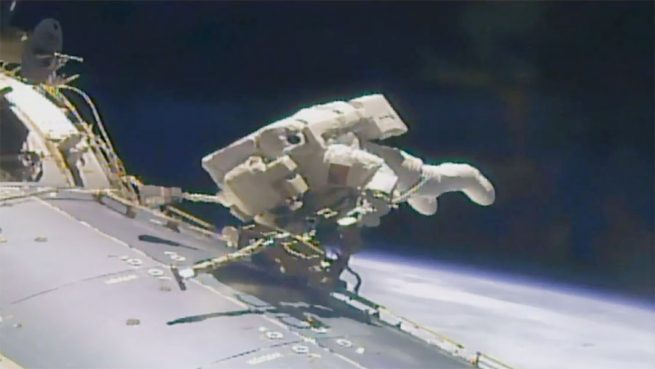Fischer during EVA-42. Photo Credit: NASA TV