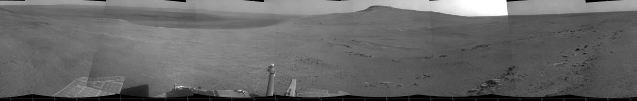 'Perseverance Valley' lies just on the other side of the dip in the crater rim visible in this view from the Navigation Camera (Navcam) on NASA's long-lived Mars Exploration Rover Opportunity, which arrived at this destination in early May 2017 in preparation for driving down the valley.