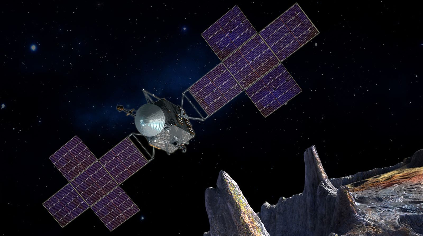 An artists rendering of the Psyche spacecraft. Photo Credit: NASA