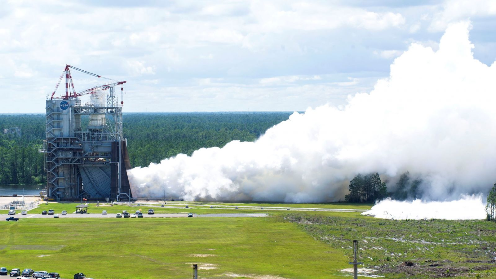 A full duration RS-25 engine test at NASA's Stennis Space Center. The test took place May 23, 2017. Photo Credit: NASA