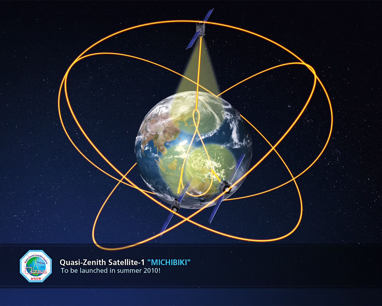 A graphic of the initial satellites in the Quazi Zenith Satellite System. Image Credit: JAXA