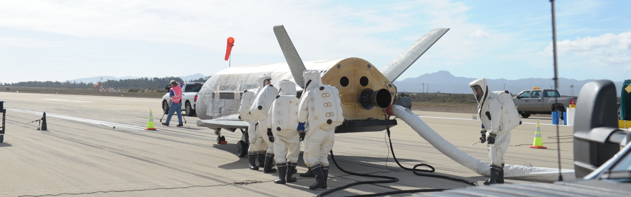 Boeing X-37B spacecraft at Vandenberg Air Force Base in California. Photo Credit: Boeing