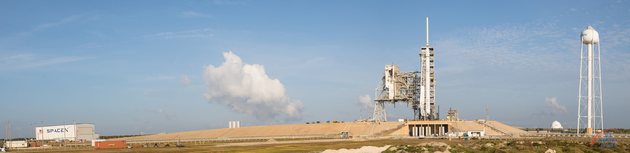 SpaceX Falcon 9 rocket with CRS-11 Dragon spacecraft at NASA's Kennedy Space Center Launch Complex 39A. Photo Credit: Michael Seeley / We Report Space