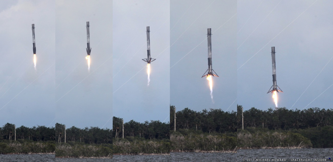 After helping send the CRS-11 Dragon capsule toward orbit, the first stage of the Falcon 9, core 1035, boosted back toward the launch area to touch down at Landing Zone 1 at Cape Canaveral Air Force Station. Photo Credit: Michael Howard / SpaceFlight Insider