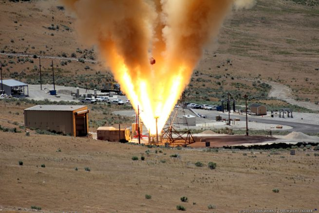 Orbital ATK conducted a static test fire of the Launch Abort Motor that is planned for use on Lockheed Martin's Orion spacecraft in Promontory, Utah on Thursday, June 15. Photo Credit: Jason Rhian / SpaceFlight Insider