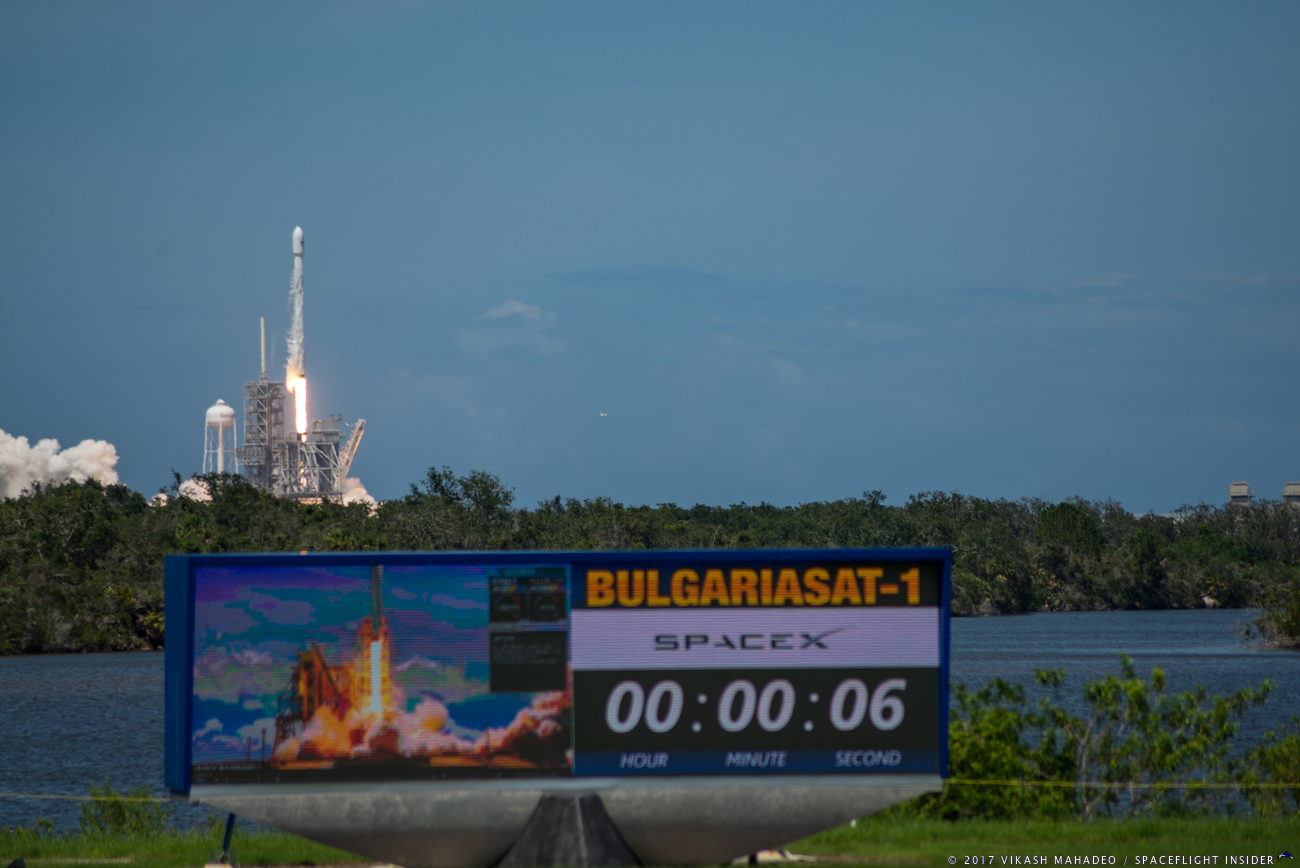 SpaceX Falcon 9 Bulgariasat-1 Kennedy Space Center Launch Complex 39A photo credit Vikash Mahadeo / SpaceFlight Insider