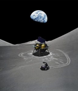 Artist's rendering of the Peregrine lander on the Moon.