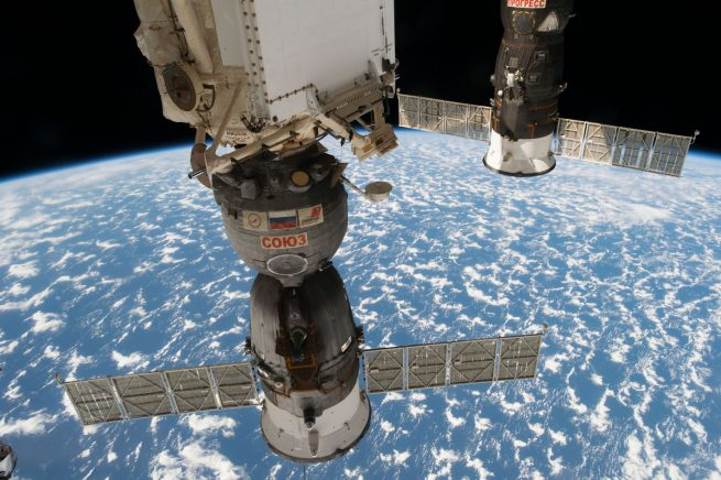 Soyuz MS-03, front, was docked with the Rassvet module for the duration of its stay at the International Space Station. Photo Credit: NASA