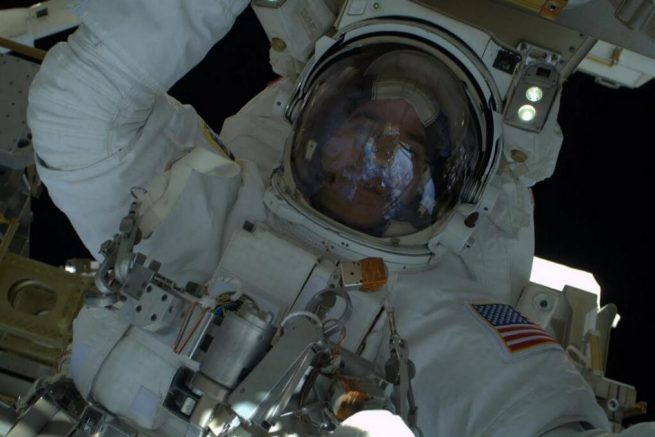 "Rick Mastracchio takes an ""EVA selfie"" during a spacewalk in April 2014. Photo Credit: Rick Mastracchio / NASA"