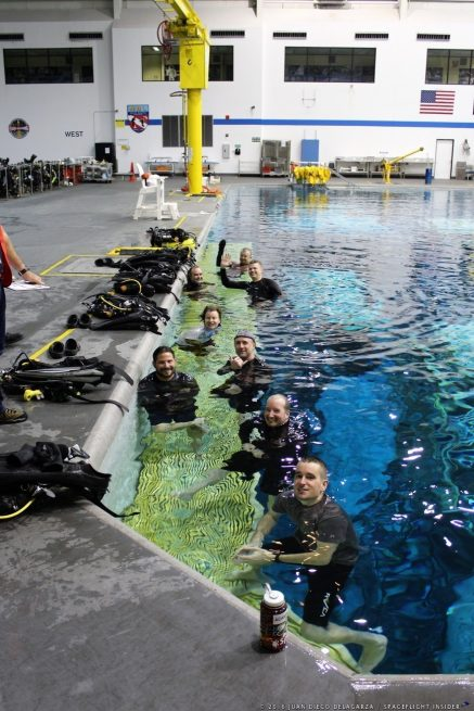 Raytheon continues support: Divers at NASA's Neutral Buoyancy Laboratory in Texas. Photo Credit: Juan Diego Delagarza / SpaceFlight Insider