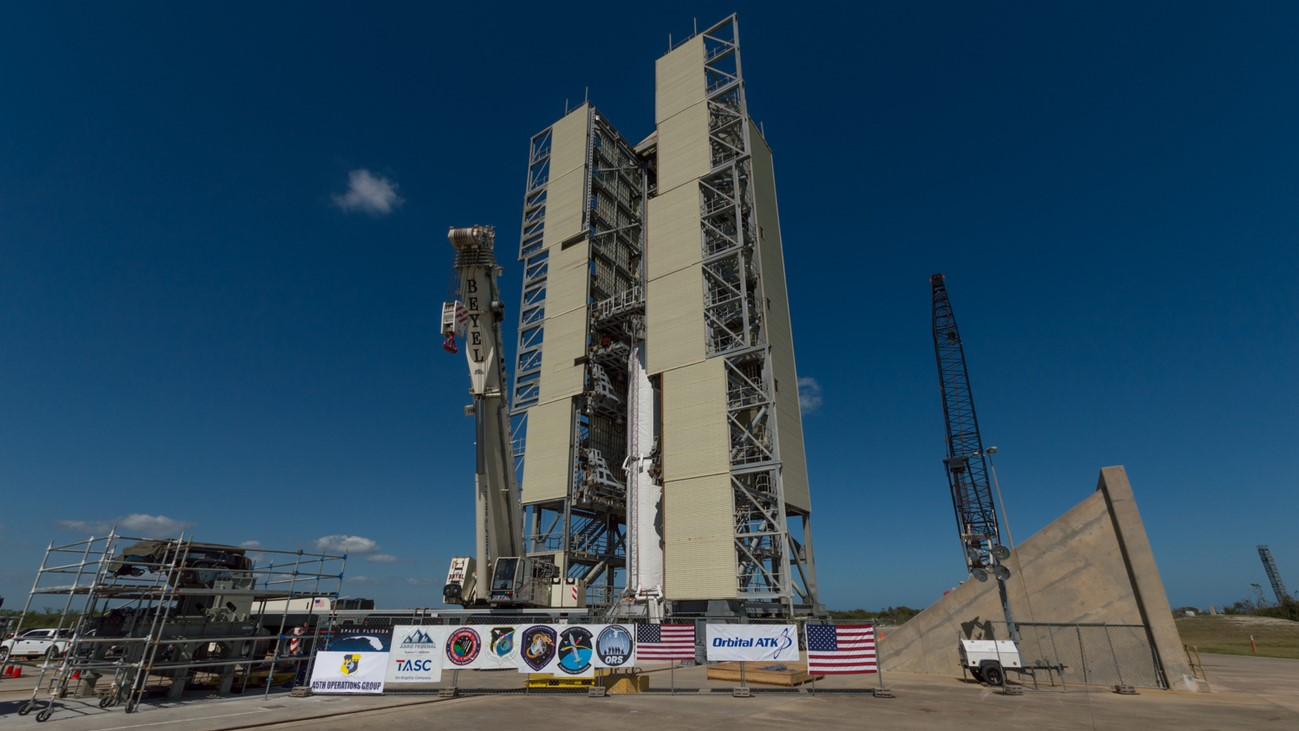 A Minotaur IV pathfinder sits on the mount at Space Launch Complex 46 in February 2017. Space Florida has worked to revitalize launch sites at Cape Canaveral Air Force Station. This summer's ORS-5 launch will mark the first time that Space Launch Complex 46 has been used in nearly 20 years. Photo Credit: Vikash Mahadeo / SpaceFlight Insider