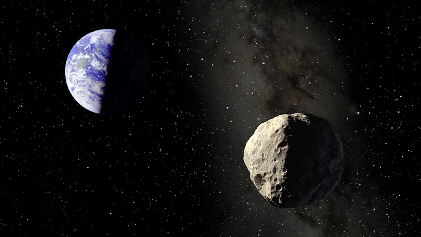 Artist's impression of the asteroid Apophis approaching the Earth