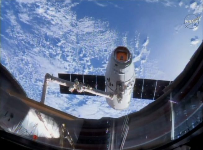 The capture of the CRS-11 Dragon capsule as seen from the cupola window on the Tranquility module. Photo Credit: NASA TV
