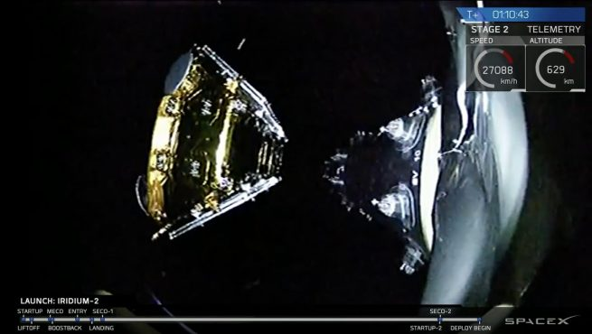 One of the 10 Iridium NEXT satellites is deployed from the upper stage of SpaceX's Falcon 9 rocket about an hour after leaving California. Image Credit: SpaceX