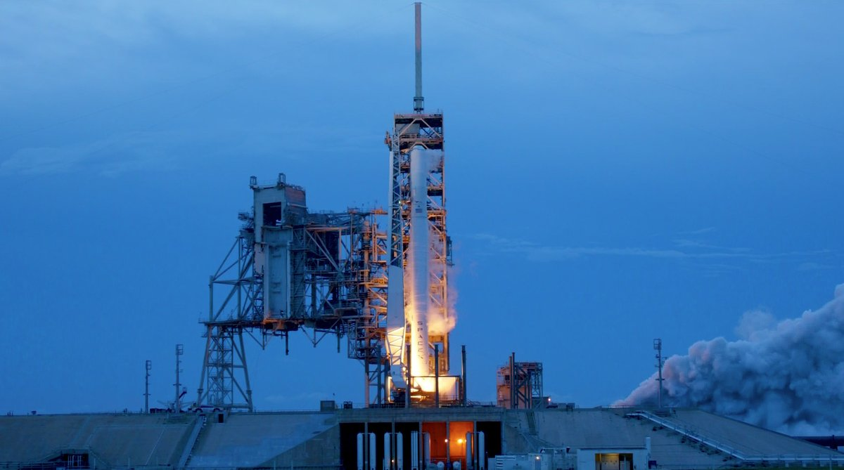 SpaceX performs a static fire test on the Falcon 9 rocket that will send Intelsat 35e into orbit. Photo Credit: SpaceX