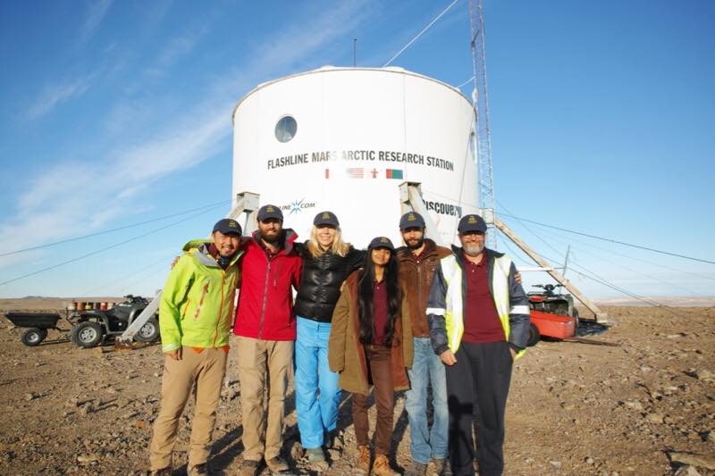 The six-person Mars 160 crew arrives at the Flashline Mars Arctic Research Station on July 17, 2017. Photo Credit: Mars Society