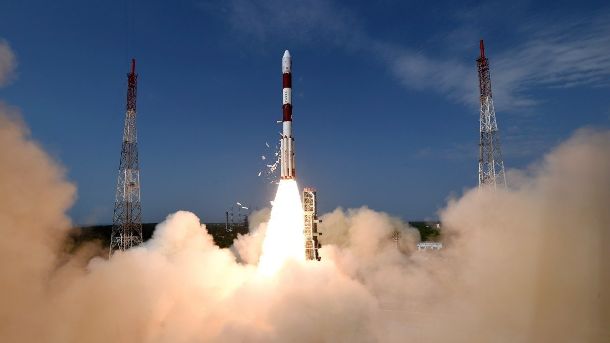 The Indian Space Research Organisation launched a PSLV-XL rocket with the CartoSat-2 satellite, along with 30 other smaller spacecraft, June 23, 2017. Photo Credit: ISRO
