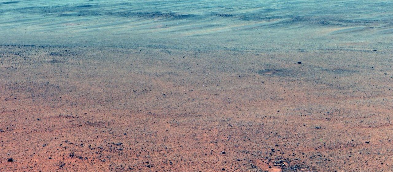 The Pancam on NASAs Mars Exploration Rover Opportunity took the component images of this enhanced-color scene during the missions