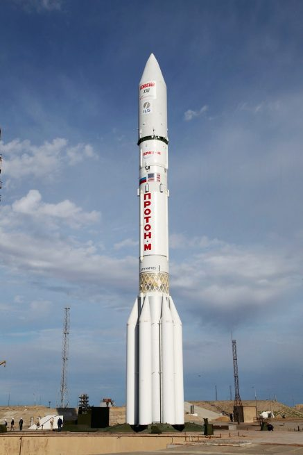 The Proton-M / EchoStar 21 mission rocket on the launch pad
