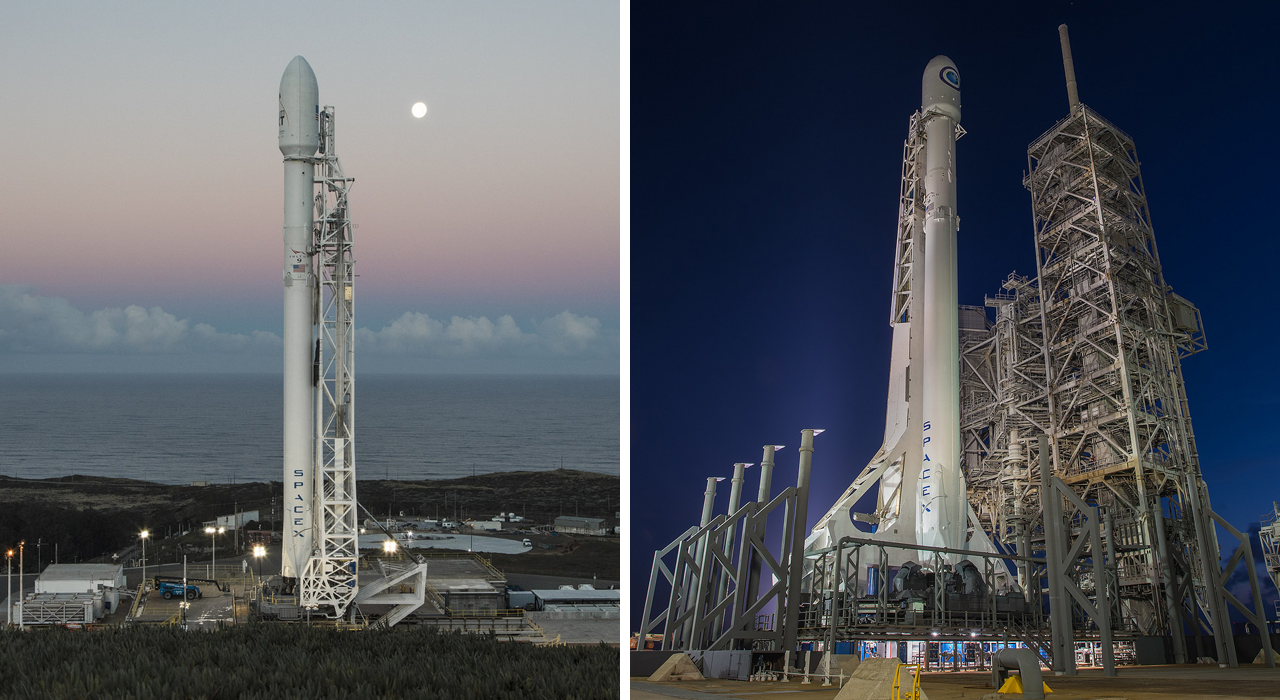 Double Feature: SpaceX will attempt to launch two Falcon 9 rockets in just two days. The first will be the BulgariaSat-1 mission on June 23, 2017, which will fly out of Kennedy Space Center's Launch Complex 39A. The second will be the Iridium-2 mission on June 25, 2017, which will liftoff from Vandenberg Air Force Base's Space Launch Complex 4E. Pictured is the Iridium-1 mission, left, and the NROL-76 mission, which launched in January and May 2017 respectively. Photo Credits: SpaceX