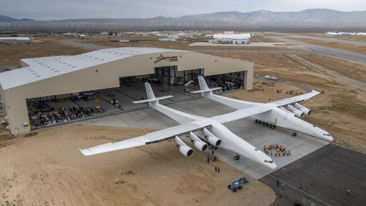 Stratolaunch aircraft emerges from Hangar in preparation for fueling tests on May 31, 2017. Photo Credit Stratolaunch