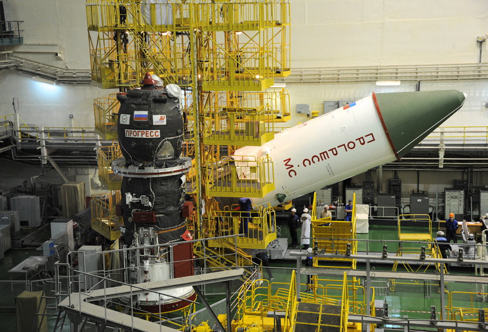 The Progress MS-06 spacecraft is seen here prior to being encapsulated in the protective payload fairing. Photo credit: Energia