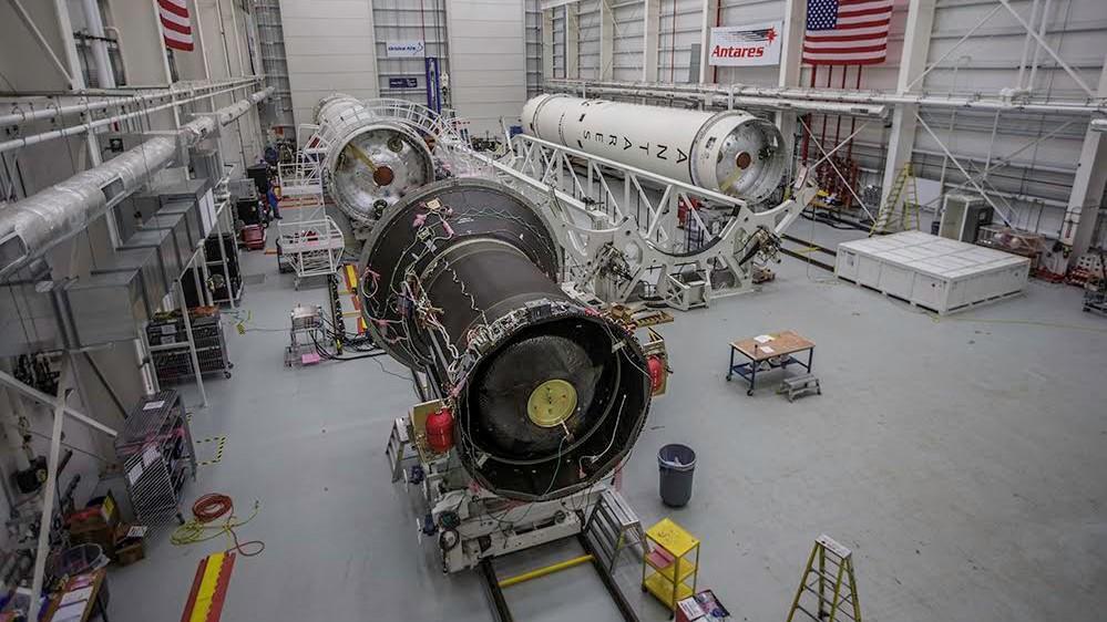 Orbital ATK's horizontal integration hangar at Wallops with multiple Antares rockets inside. Photo Credit: Patrick Black / NASA