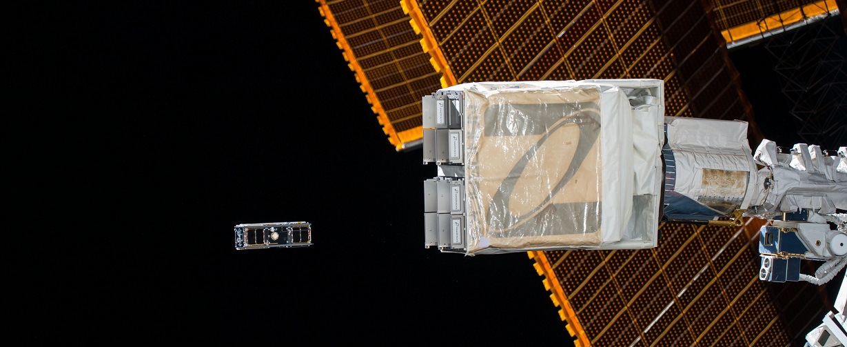 CubeSats that are part of the the QB50 constellation of CubeSats provided by countries from around the world are deployed from the NanoRacks CubeSat deployer.