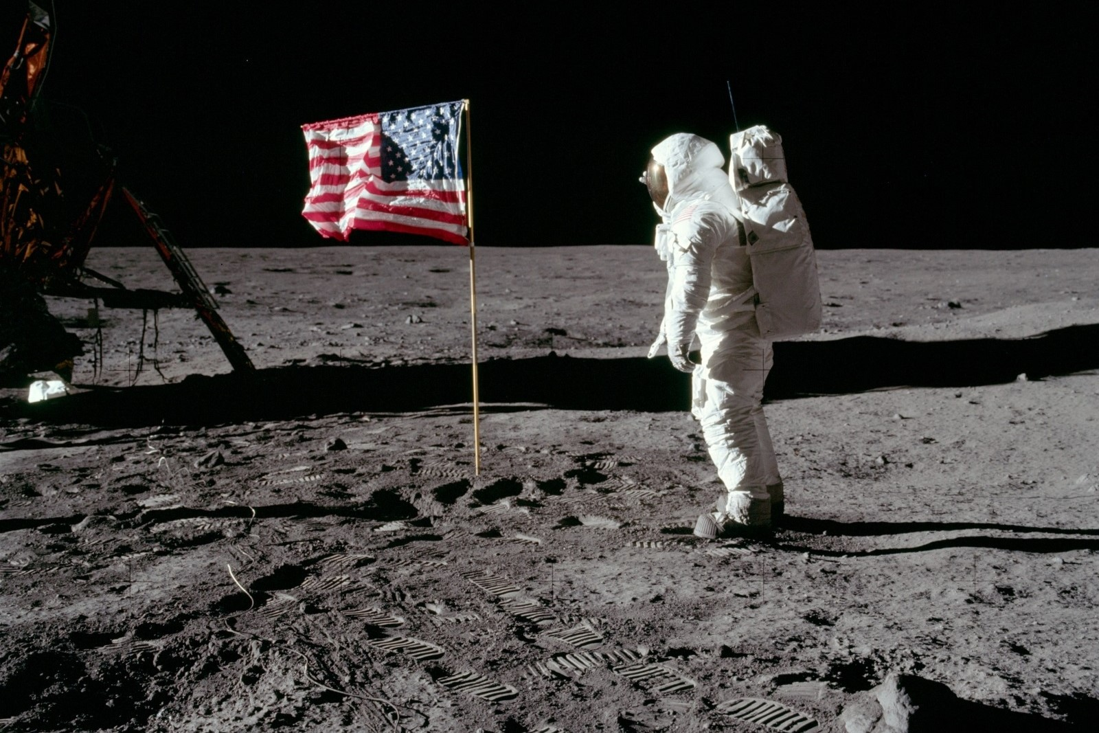 Apollo 11: Buzz Aldrin salutes U.S. flag on the Moon. Photo Credit: NASA