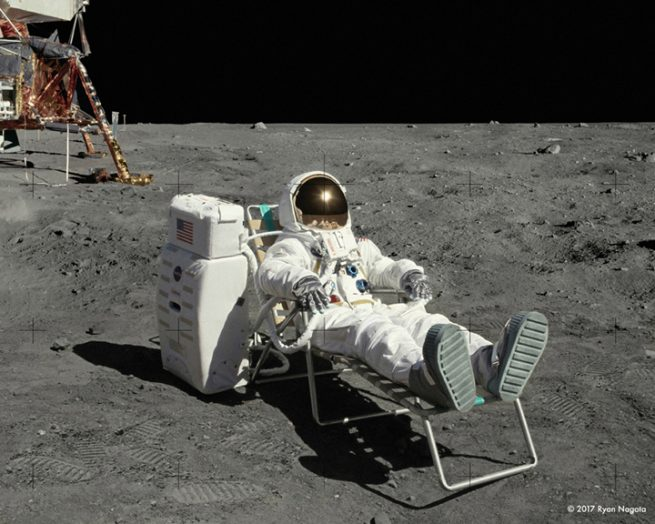 Astronaut Ryan Nagata relaxing on the surface of the Moon. Image Credit Ryan Nagata