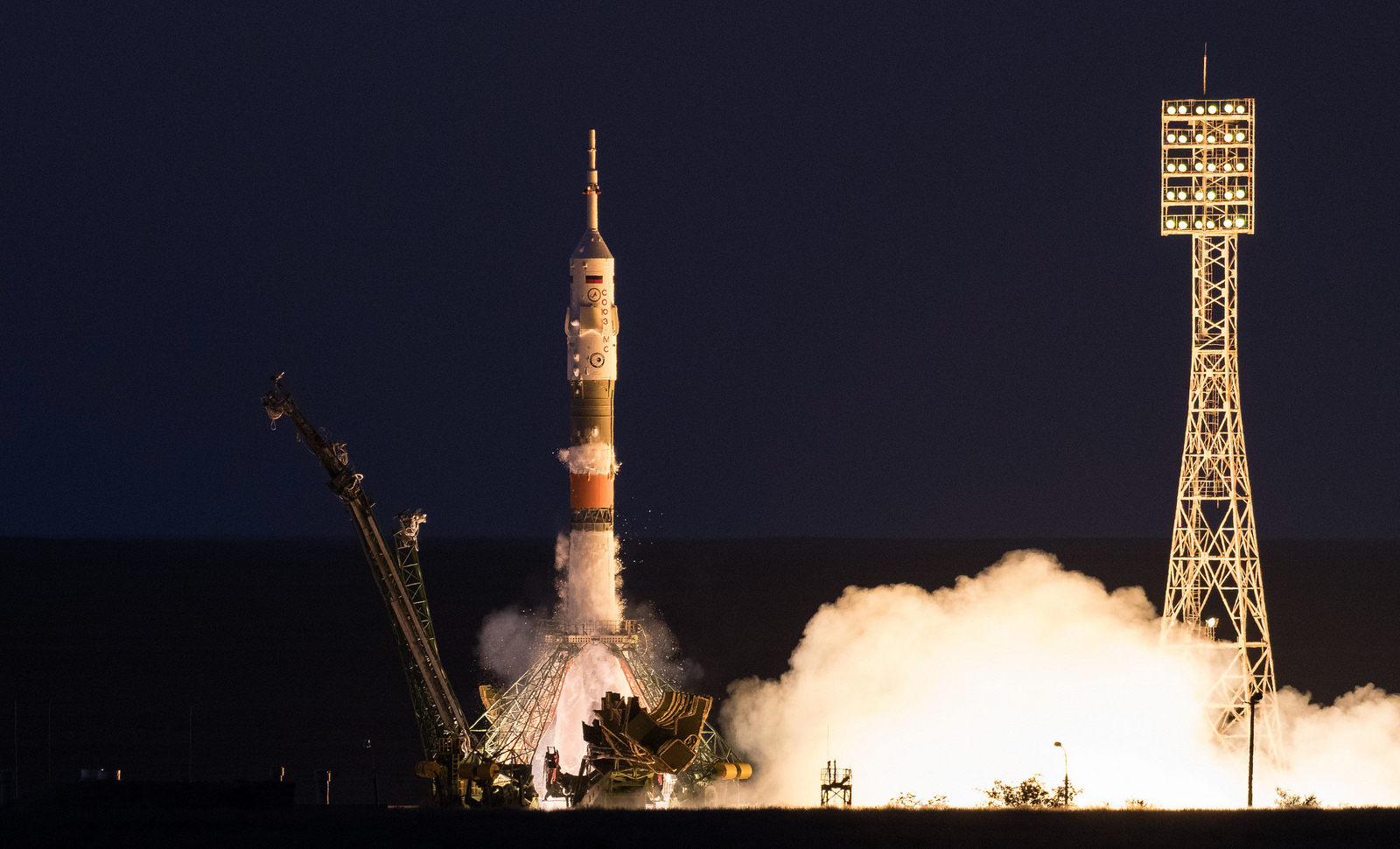 The Soyuz MS-05 rocket is launched with Expedition 52