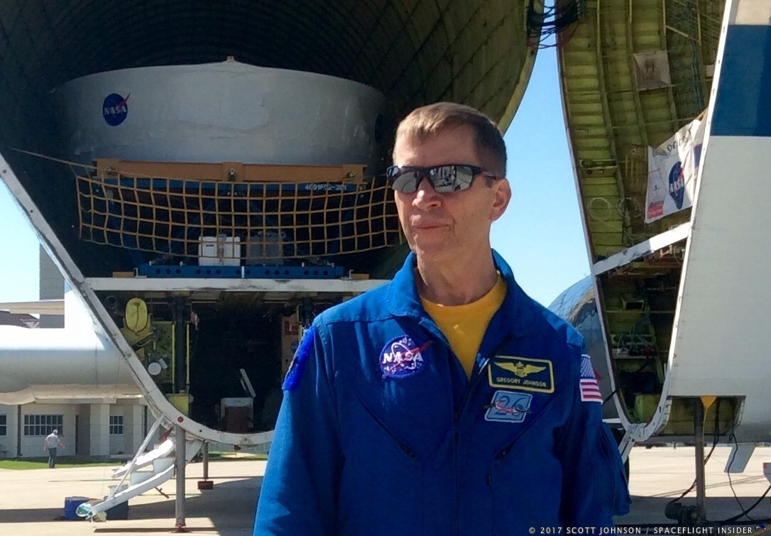 "Gregory C. ""Ray J"" Johnson, retired astronaut and current Super Guppy pilot, speaks to media on July 11, 2017. Photo Credit: Scott Johnson / SpaceFlight Insider"