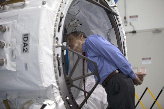 International Docking Adapter 2 with NASA's Kennedy Space Center Director Robert D. Cabana photo credit NASA