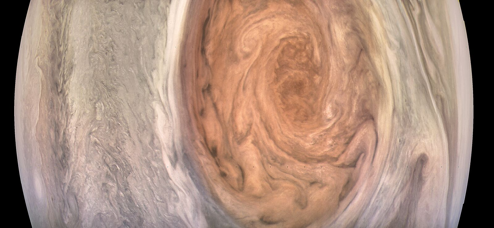 Jupiter's Great Red Spot as seen by NASA's Juno spacecraft Photo Credit NASA