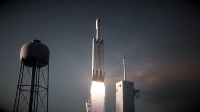 An artist's rendering of a Falcon Heavy launching from Kennedy Space Center's Launch Complex 39A image credit SpaceX